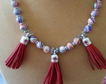 Rainbow Calsilica Tassel Necklace