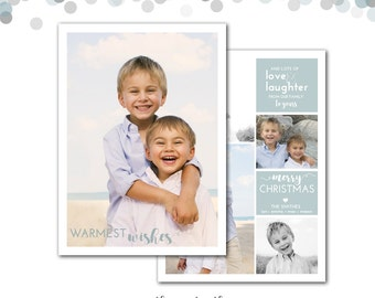 Nautical Christmas Card, Beach, Warm Wishes, Personalized Photo Holiday Card, Beach Christmas Card, Holiday Card, Printable or Printed
