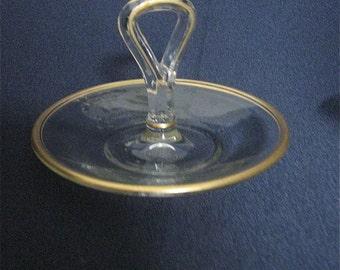 Miniature Center Handle Server- Potomac Glass Co.- vintage- Gold Edge