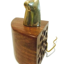 """Vintage Brass Mouse & Walnut """"Swiss Cheese"""" Desk top or Dresser Decor Bookcase Display Mid Century Modern Big Cheese Statue Carved Wood"""