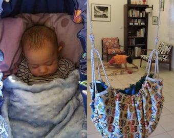 baby hammock kids swing owl & blue