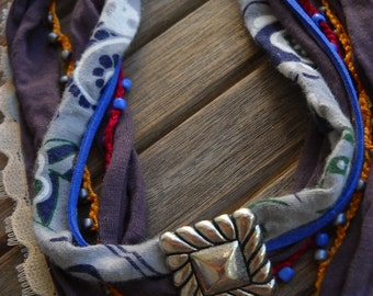 textile waste necklace Golden Fall.Mosaic