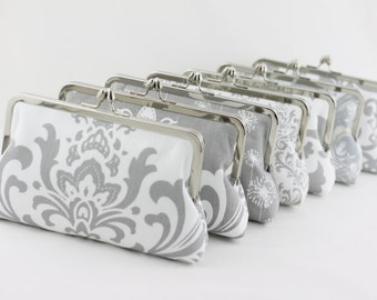 Grey & White Custom Bridesmaid Clutch / Grey Silver Wedding Gift / Grey Floral Wedding Purses - Set of 7