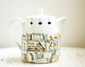 Hand painted teapot  -  Book A Holic  -  fine bone china