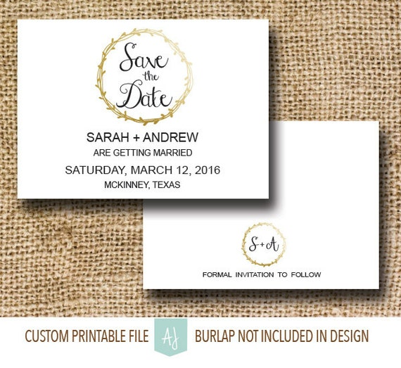 Printable Wedding Save The Date With Metallic Gold