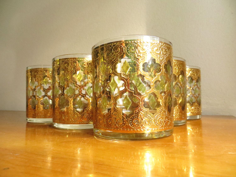 Vintage culver valencia glassware whiskey glasses set of five - Vintage valencia ...