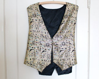 Vintage Brocade Metallic Gold vest NO buttons