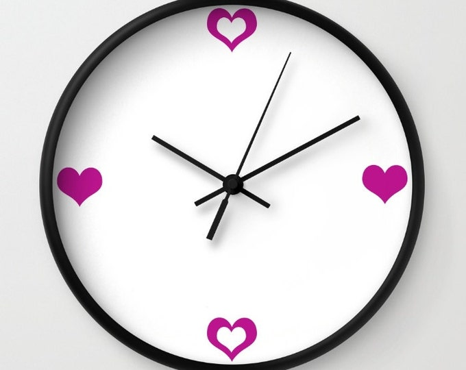 Heart Clock - Wall Clock - Magenta Purple Clock - Love Clock - Made to Order