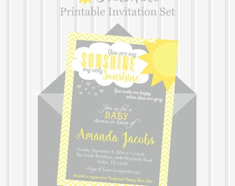You Are My Sunshine Invitation/You Are My Sunshine Baby Shower Invitation/Gender  Neutral