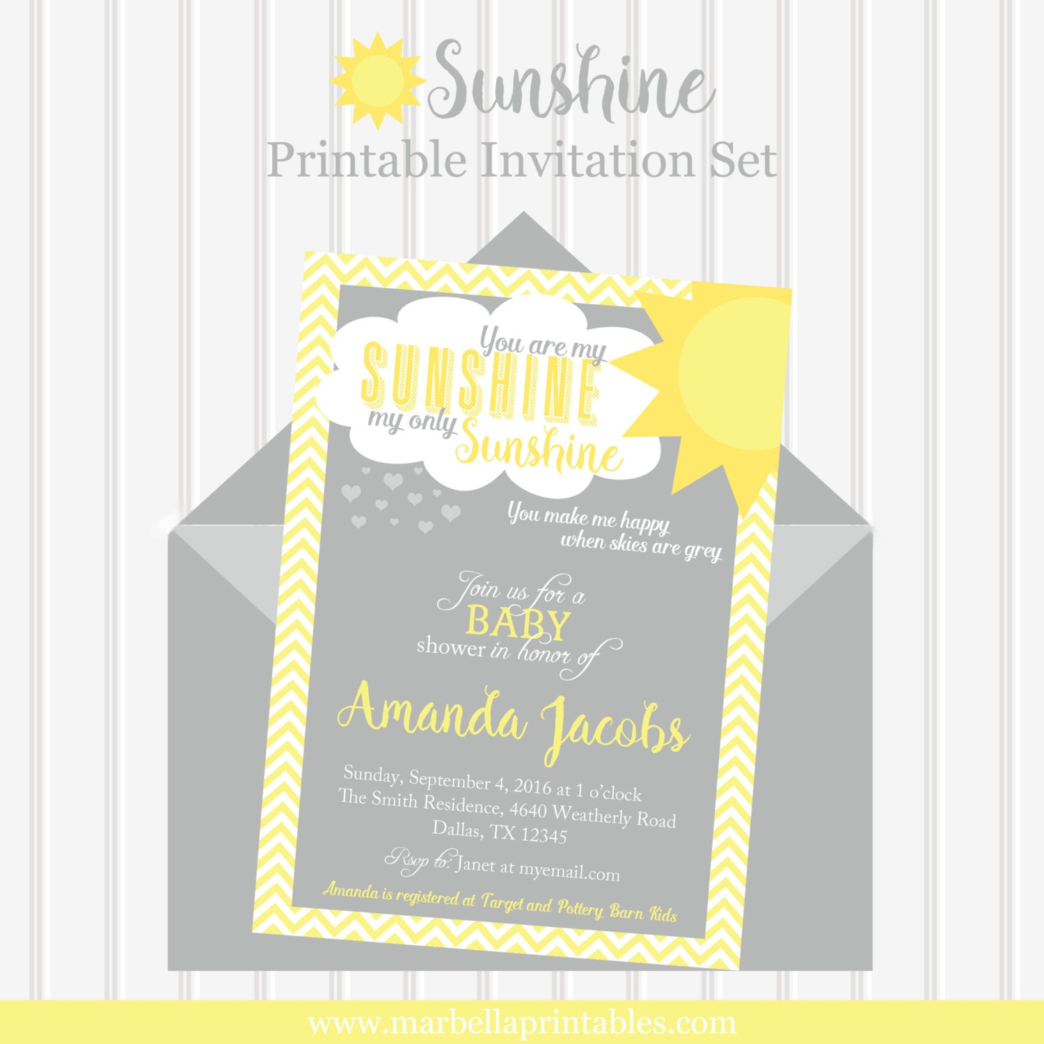You Are My Sunshine Invitation You Are My Sunshine Baby Shower