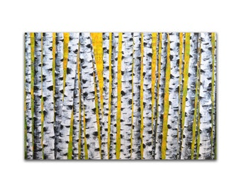 Birch Tree Painting, Original Abstract Painting, Palette Knife Painting, Impasto Textured Wall Art, Contemporary Home Decor