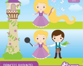 Princess Rapunzel Clipart Set - Instant Download - PNG Files.