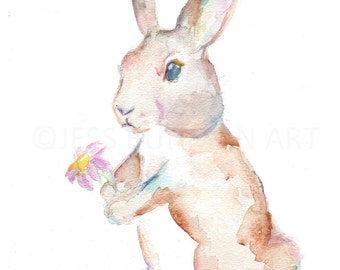 Rabbit Watercolor Painting Print, Print of Bunny, Baby Animal Painting, Nursery Art, Baby Bunny Art, Watercolor Bunny, Watercolor Rabbit