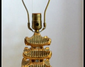 Vintage Asian Pagoda Ceramic Lamp