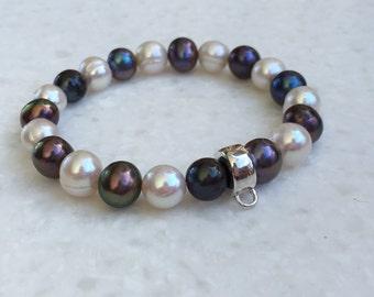 White Freshwater Pearl & Sterling Silver Charm Bracelet