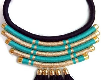Funky necklace. African tribal necklace. Boho chic necklace. Tribal statement necklace. Multistrand necklace. Black tassel necklace