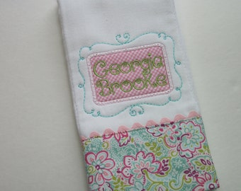 Sweet Baby Girl Personalized  Burp Cloth