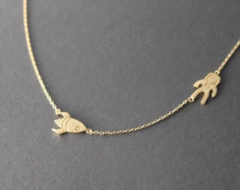 Astronaut necklace // Rocket necklace // Astronaut and Rocket necklace // Gold