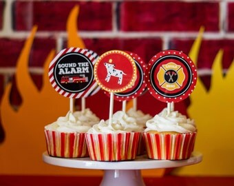 Fire Truck Cupcake Toppers, Fire Truck Birthday, Sound The Alarm Birthday, Fire Truck Party Decor, Boys Birthday, INSTANT DOWNLOAD, #56