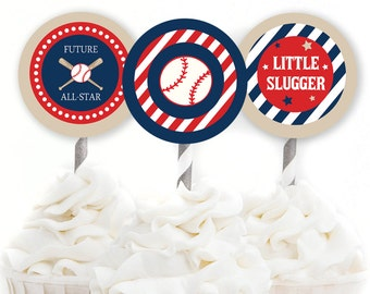 Baseball Baby Shower, Cupcake Toppers, 2 Inch Party Circles, Red and Navy, Sports Shower, Little Slugger Baby Shower, INSTANT DOWNLOAD, #S1