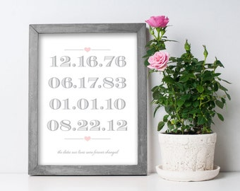 Custom Dates PRINT with handmade wood frame