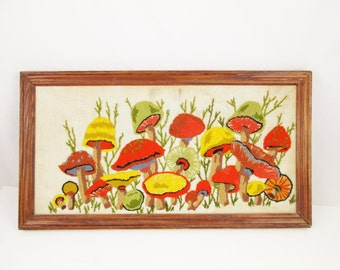 Wall Art - 'Mushrooms' - Mid Century Crewel Work - Oak Frame - Olive Green, Grey, Black, Rust, and More - 1960s Crewelwork Artwork