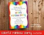 Rainbow Party Invitation | Invitation for a Colorful Rainbow Birthday Party