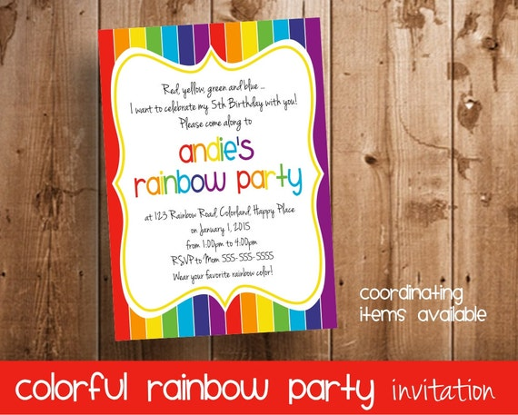 Rainbow Party Invitation | Invitation for a Colorful Rainbow Birthday Party
