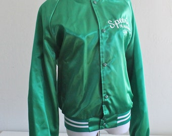 1980's Green Satin Baseball Jacket from Speer's Market Embroidered Medium