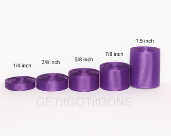 Purple Grosgrain Ribbon 5 yards (You choose the width, 1/4, 3/8, 5/8, 7/8 or 1.5 inch)