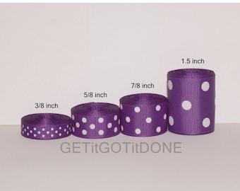 Purple Polka Dot Grosgrain Ribbon 5 Yards (You choose the width: 3/8, 5/8, 7/8, or 1.5 Inch)