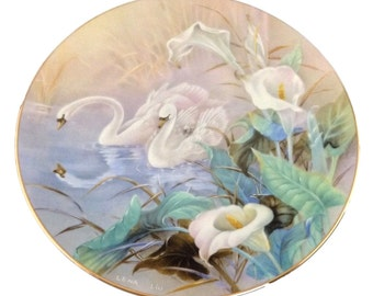 Lena Liu Wall Plate , W S George, The Swans, On The Wings of Snow, Wall Hanging Porcelain Plate, Home Decor
