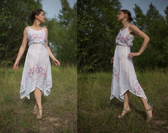 Vintage 70s white sheer  dress/ asymmetrically skirt part spaghetti straps dress/ pink blue romantic flower rose print dress/ XS/S