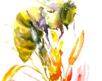 "Honey Bee and Flowers, Original watercolor painting 6"" X 8"""