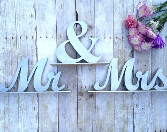 Wedding Sweetheart Table, Mr and Mrs Sign, Mr and Mrs Table Sign, Silver Glitter, Wedding Sign, Mr & Mrs Letters XL, Bride Groom Table Decor