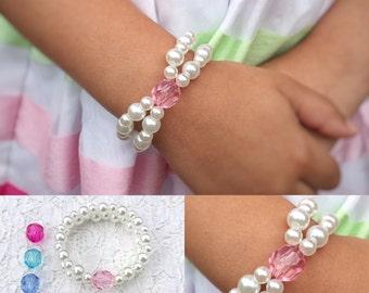 Girls Jewelry for Kids Gifts - Birthstone Bracelet Gift for Kids Jewelry - Flower Girl Gift Pearl Bracelet - Toddler Bracelet Gift for Girls