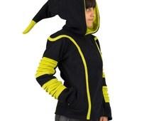 Pixie hood jacket, warm fleece dawrf hood, alternative wear, festival hooded fairy jacket, black and lime green, psytrance party, cyber elf