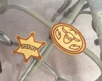 Toy Story badge and buckle inspired Woody costume and Jessie costume (2 pieces).
