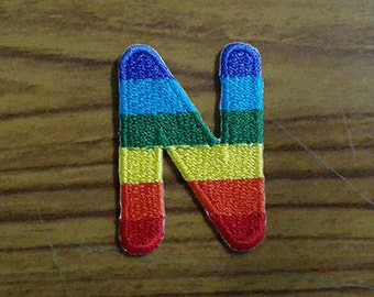 Rainbow Alphabet Letter N Applique Embroidered Iron on Patch