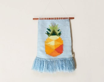 Pineapple woven wall hanging in pastel colours - Pinapple art , Pineapple decor , Pineapple decorations
