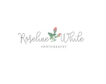 Premade  Logo and Watermark Design - One of a Kind - Hand painted watercolor rose Logo - Business Branding - photography logo