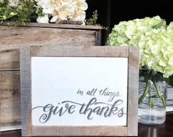 """Hand painted wooden sign """"Give Thanks"""""""