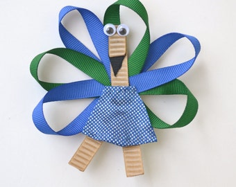 Hair Bow for Girl, Peacock Hair Clip, Green and Blue Hair Bow, Peacock Hair Bow, Hair Clip, Peacock Hairbow, Headpieces for girls, peacocks