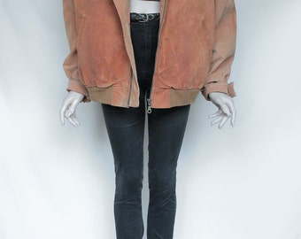 1980s Vintage Chestnut Leather Jacket for Women or Men