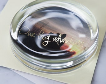 Personalised Family Photo and Gold Foil Paperweight - Solid Glass Paperweight - Gift for Families - Office Accessories - Gold Foil Message