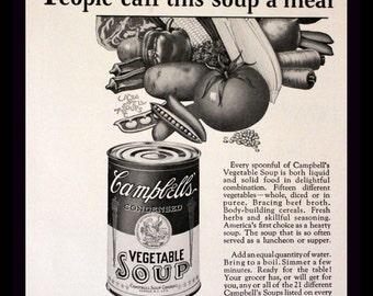 1928 Campbells Vegetable Soup Ad - Wall Art - Home Decor - Kitchen - Black & White - Retro Vintage Food Advertising