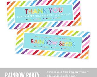 Rainbow Birthday Party Favors - Rainbow Treat Bag Toppers - Rainbow Seeds Party Favors - Ziploc Treat Bag Toppers -