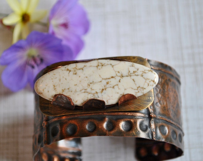 Mixed metals rustic copper cuff with white howlite stone, copper bracelet, metal work, boho, unisex