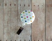 Retractable Badge Reel ID Holder, Colorful Rainbow Hearts Cotton Print, Quick Ship, Made in USA, Heart Badge Clip, Heart Badge Reel