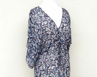 Navy Silk Floral Print Blouse